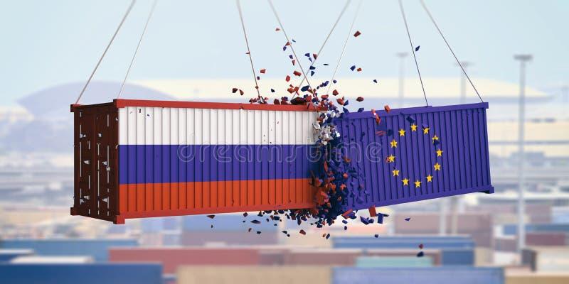 Russische en Europese Unie vlaggen verpletterde containers op blauwe hemelachtergrond 3D Illustratie royalty-vrije illustratie