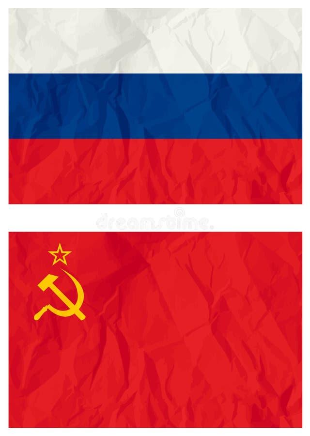 Russische falg en de oude vlag van de USSR vector illustratie
