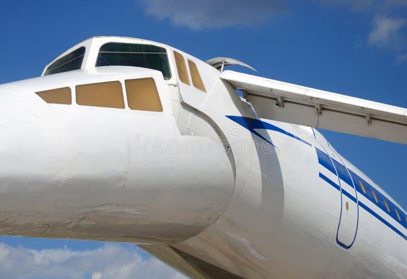 Russische Fenster, Flügel und Geschichte des Flugzeuges TU-144 lizenzfreie stockfotografie