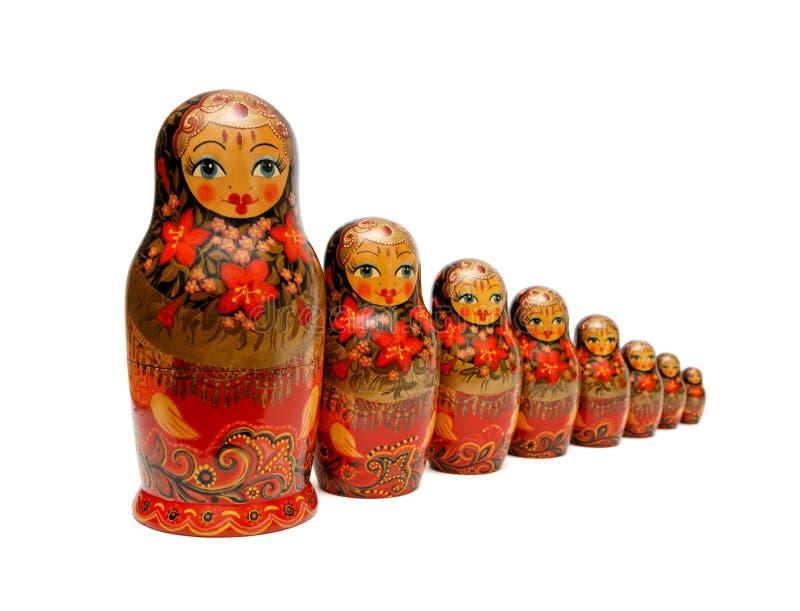 Russische geïsoleerde¯ poppen Babushka royalty-vrije stock afbeelding