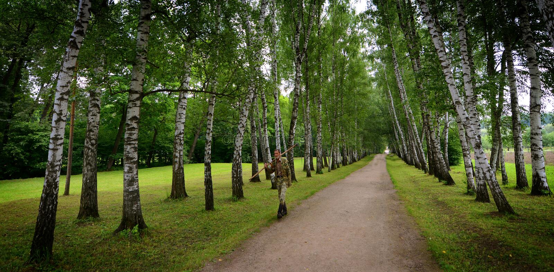 Russische Groundskeeper bij Tolstoy-het Landgoed van het Land royalty-vrije stock fotografie