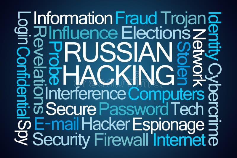 Russische het Binnendringen in een beveiligd computersysteem Word Wolk stock illustratie