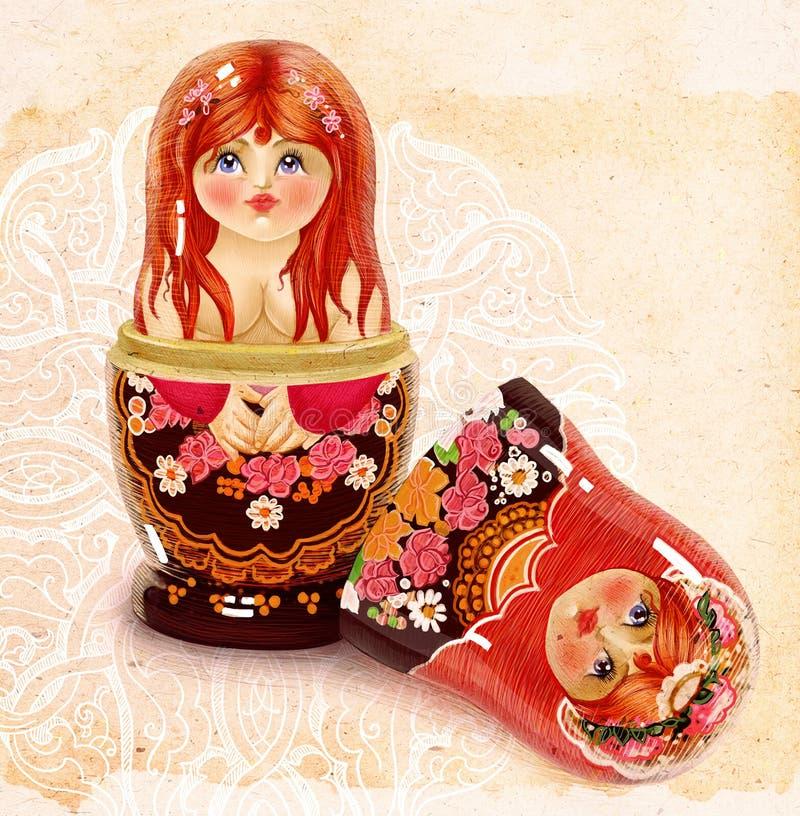 Russische het toerismemetafoor artistieke I van het matrioshkageslacht stock illustratie