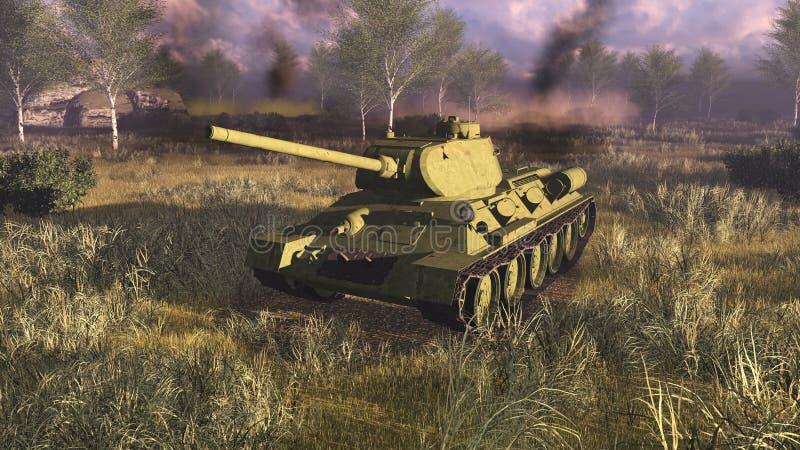 Russische hoofdgevechtstank T 34 bij slagveld royalty-vrije illustratie