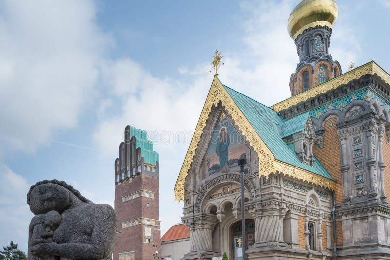 Russische Kapelle bei Mathildenhoehe, Darmstadt, Deutschland stockbilder