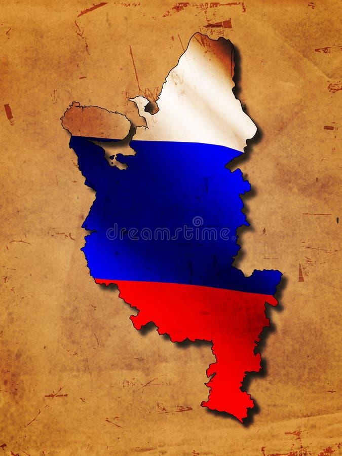 Russische Karte mit Markierungsfahne stock abbildung