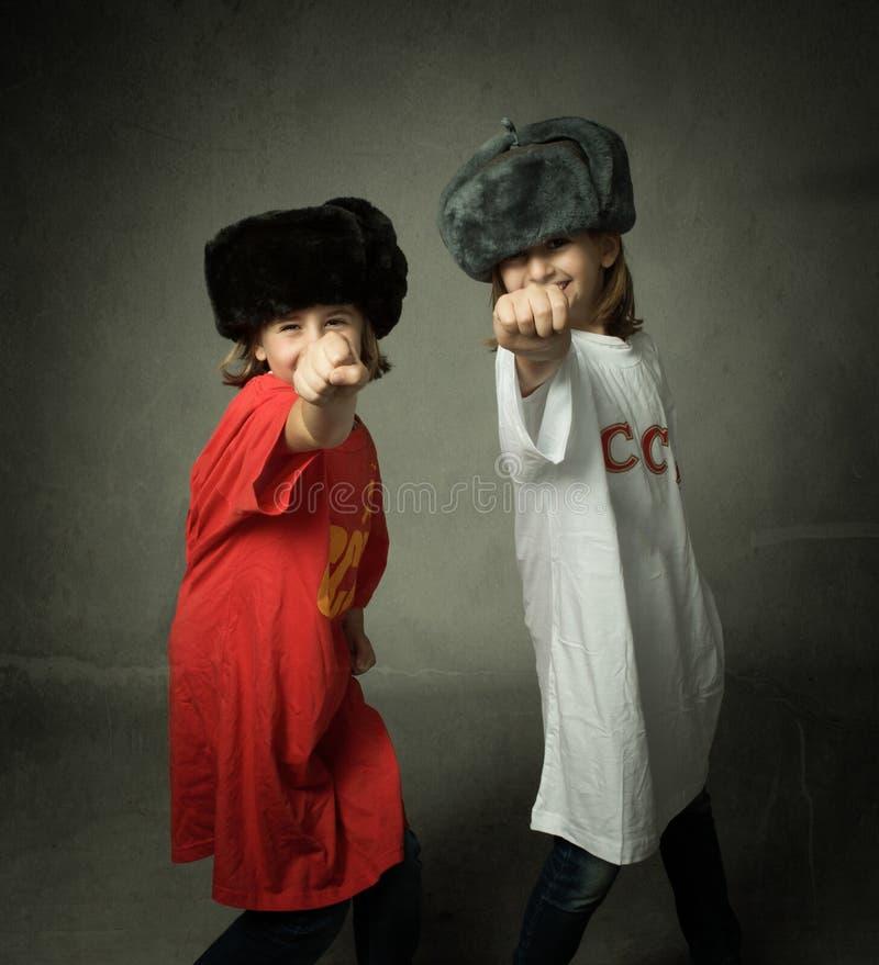 Russische kinderen met het sluiten van vuist royalty-vrije stock afbeeldingen