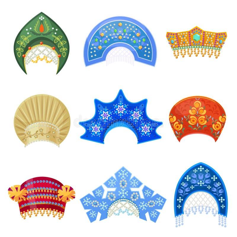 Russische kokoshnik traditionele hoed met ornamentreeks stock illustratie