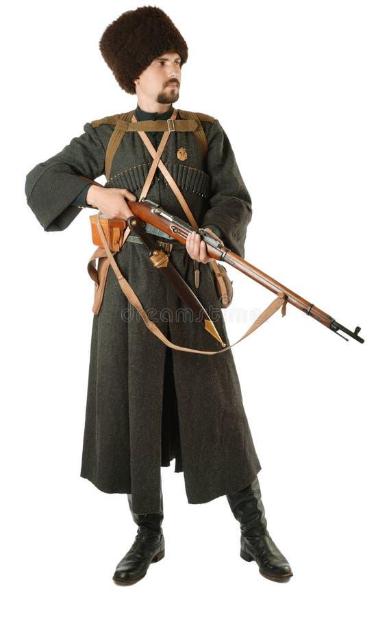 Russische Kozak met een geweer. royalty-vrije stock afbeelding