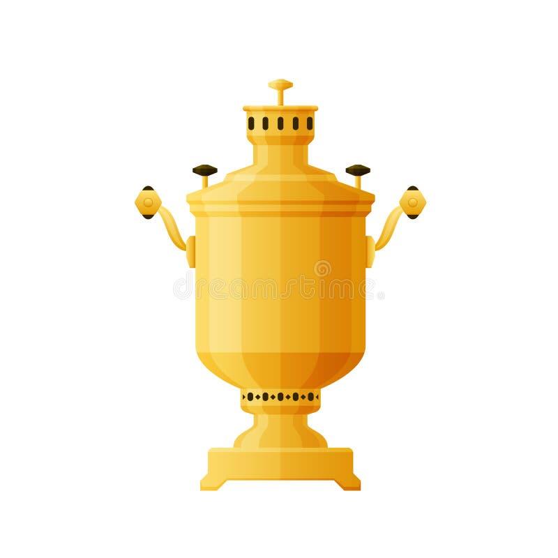 Russische Kultur Goldener Samowar des traditionellen Tees Metallfür trinkenden Tee lizenzfreie abbildung