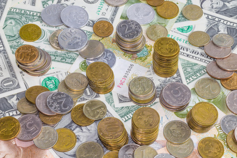 Russische Münzen lizenzfreie stockfotos