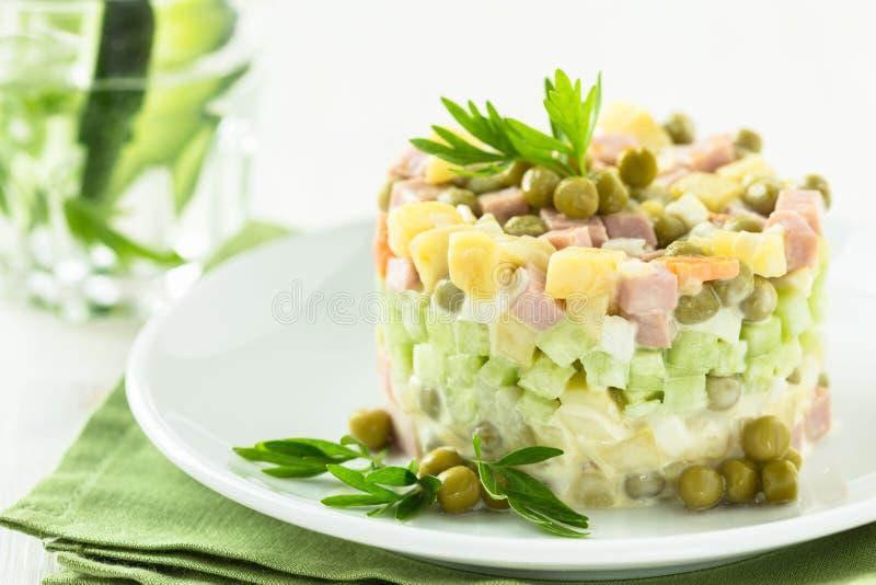 Russische meer olivier salade stock foto