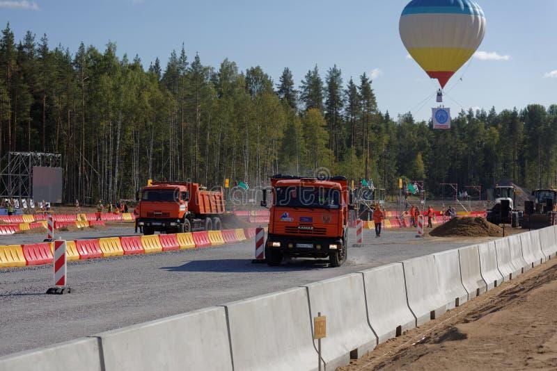 Russische Meisterschaft der beruflichen Qualifikationen des Straßenarbeiters lizenzfreies stockbild