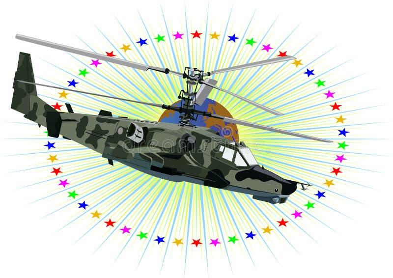 Russische militaire helikopter royalty-vrije illustratie