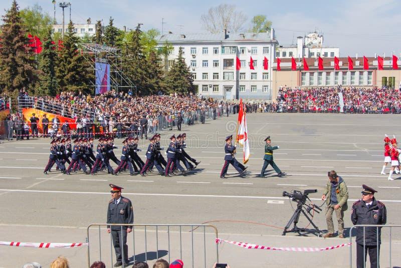Russische militairen maart bij de parade op jaarlijkse Victory Day, Mei, stock foto