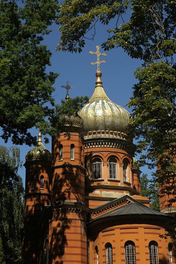 Russische orthodoxe Kapelle am historischen Kirchhof in Weimar lizenzfreie stockfotografie