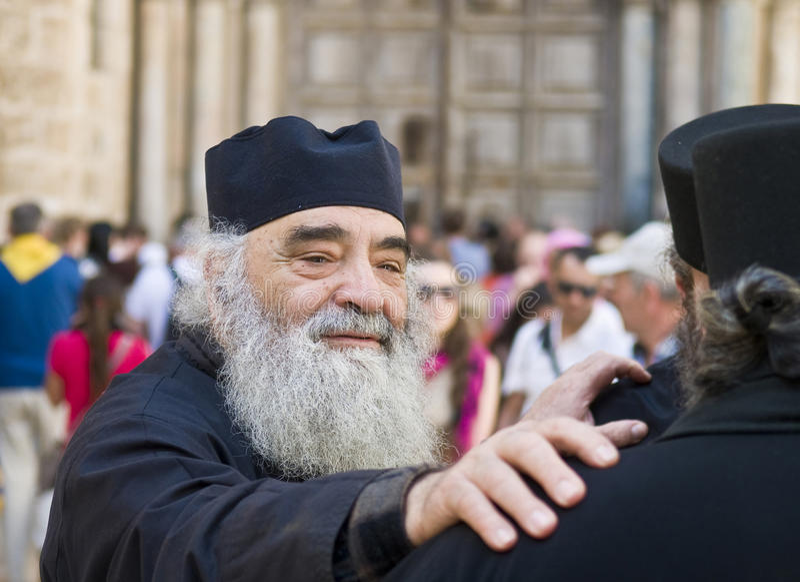 Russische orthodoxe Mönche stockbild