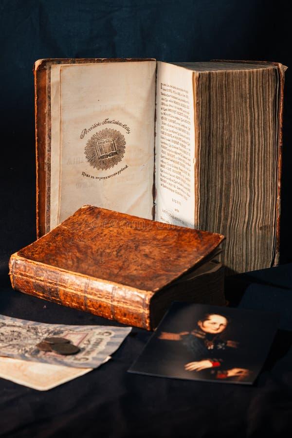 Russische oude bijbel 1821 jaar royalty-vrije stock afbeeldingen