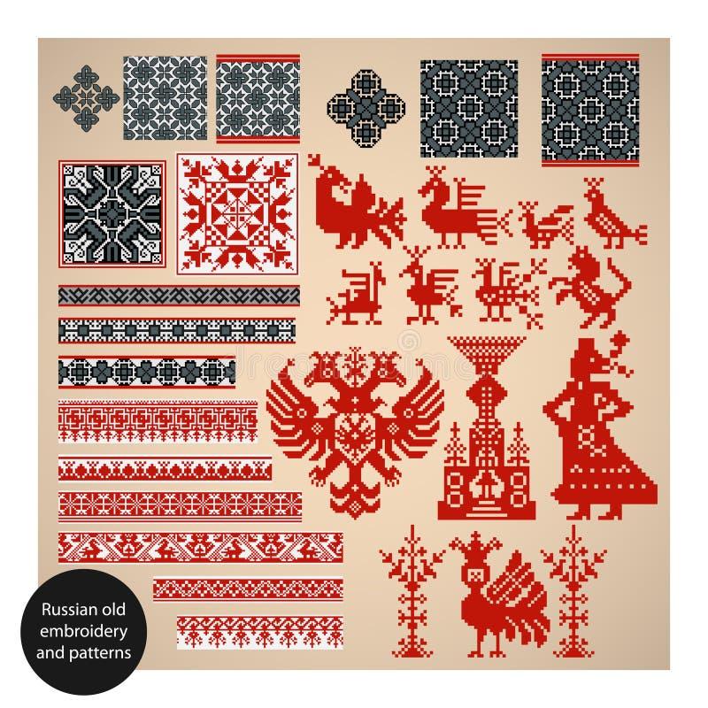 Russische oude borduurwerk en patronen stock illustratie