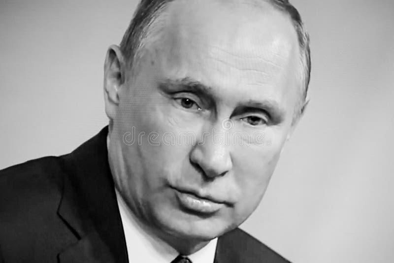 Russische President Vladimir Putin geeft definitieve media Q&A royalty-vrije stock afbeelding