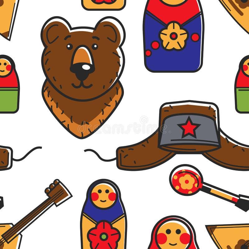 Russische reisende Symbole und nahtlose Mustertraditionen und Kultur des Tourismus stock abbildung