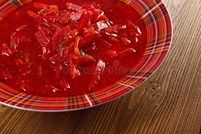 Russische rode bietsoep (borscht) stock afbeeldingen
