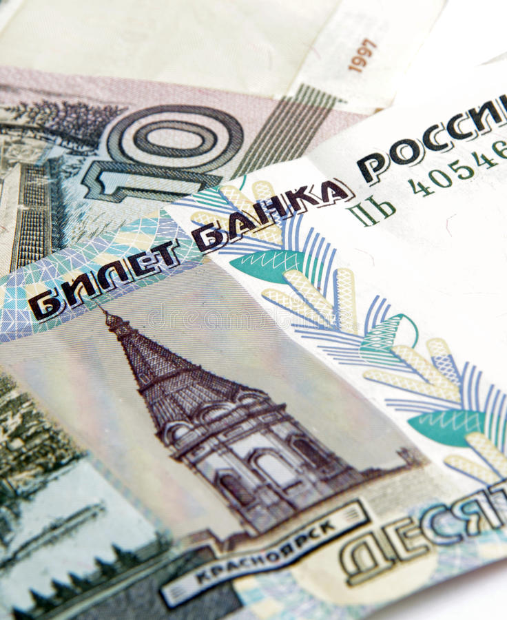 Russische roebels stock foto's