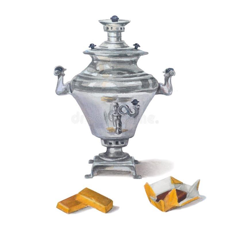 Russische samovar met chocoladesuikergoed in gouden suikergoedomslagen Ge?soleerdj op witte achtergrond Thee het drinken in de Ru stock illustratie