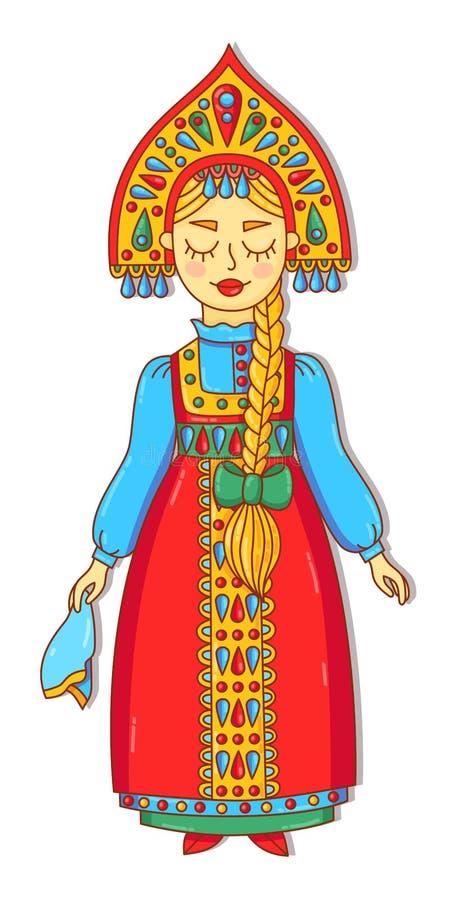 Russische Schönheitsmädchen-Frauenzeichentrickfilm-figur in der traditionellen ethnischen Kleidung vector Illustration stock abbildung