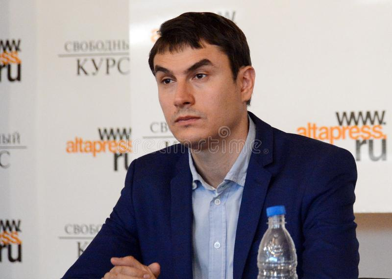 Russische schrijver, afgevaardigde van de Doema van de Federale Vergadering van de Russische Federatie VII oproeping Sergey Sharg royalty-vrije stock afbeelding