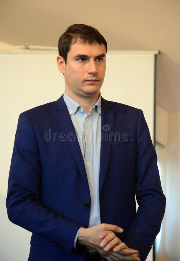 Russische schrijver, afgevaardigde van de Doema van de Federale Vergadering van de Russische Federatie VII oproeping Sergey Sharg royalty-vrije stock foto