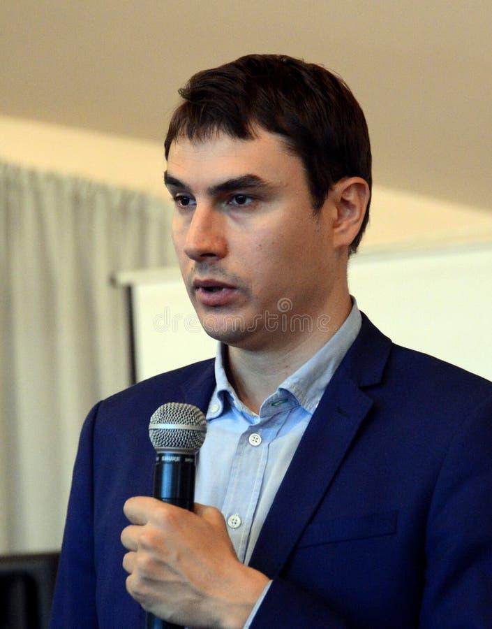 Russische schrijver, afgevaardigde van de Doema van de Federale Vergadering van de Russische Federatie VII oproeping Sergey Sharg royalty-vrije stock foto's