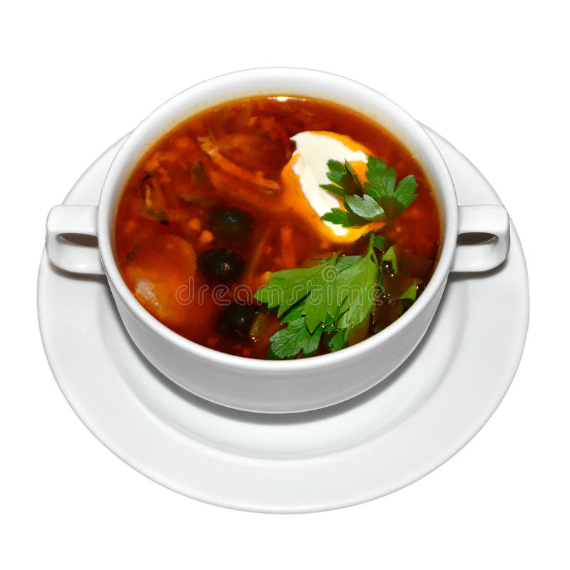 Russische soep Solyanka stock afbeelding