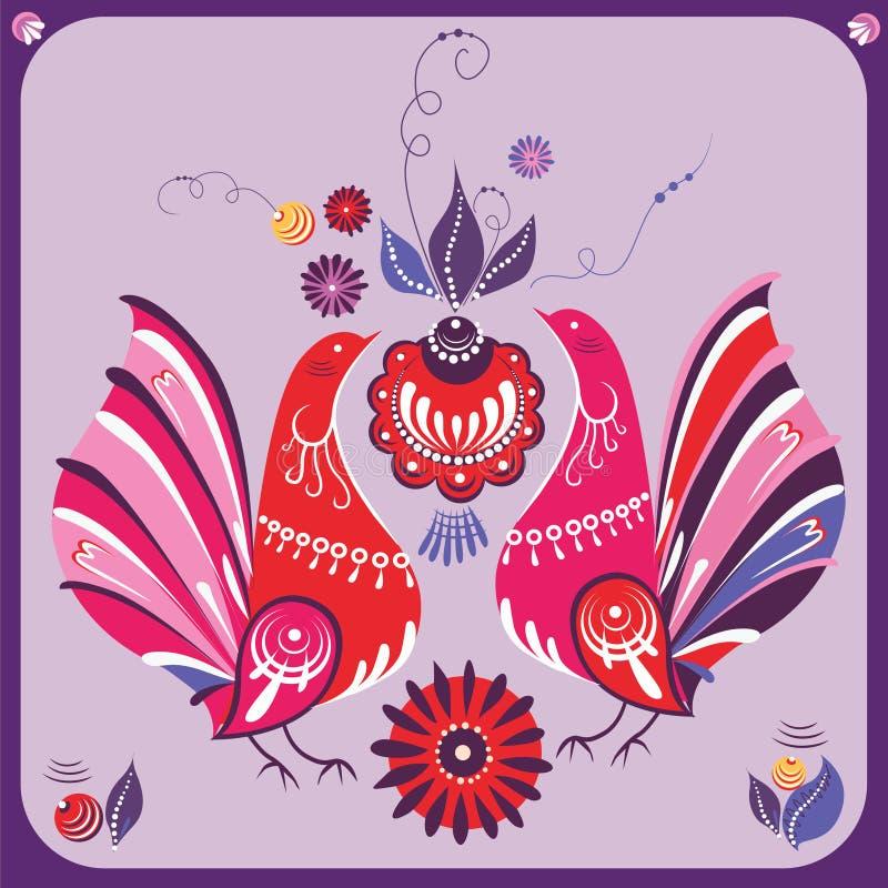 Russische Stijl Roze Vogels Royalty-vrije Stock Fotografie