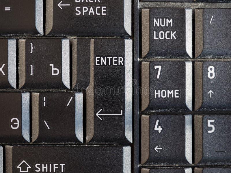 Russische und englische Tastatur mit kyrillischem und lateinischem Alphabet lizenzfreie stockbilder