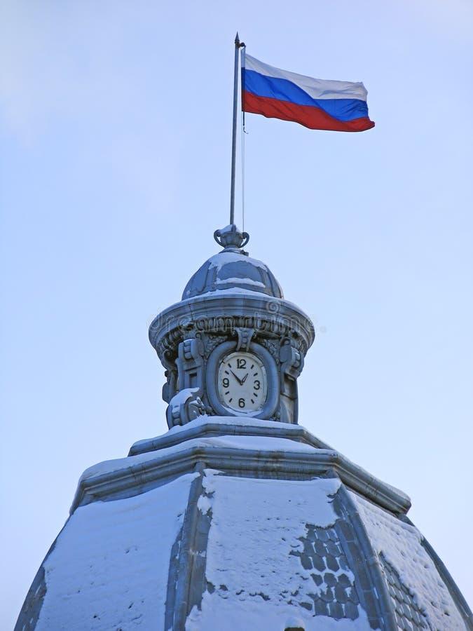 Russische vlag. stock afbeelding