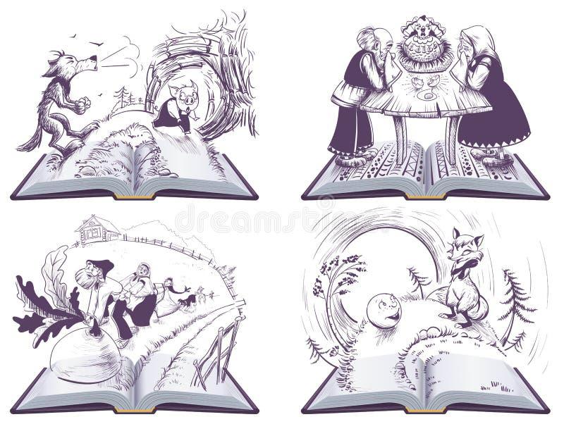 Russische volksverhalen geplaatst open boekillustratie vector illustratie