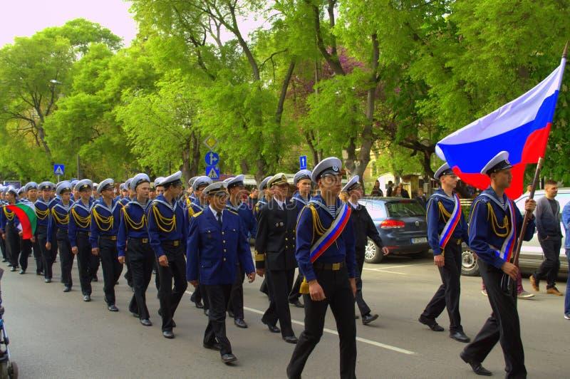 Russische zeelieden op parade stock afbeelding