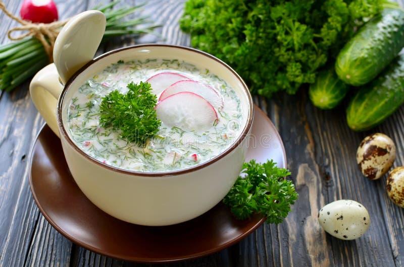 Russischer Frühling und kalte Suppe des Sommers mit Kefir stockbilder