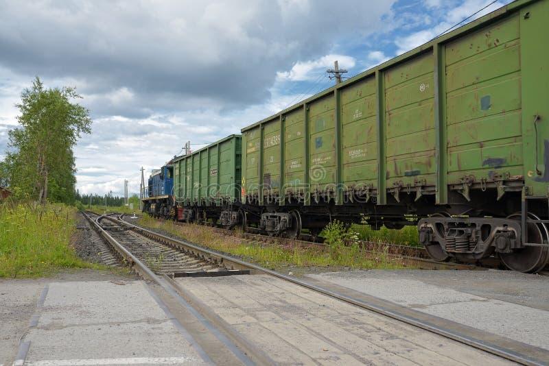 Russischer Güterzug in der Bewegung lizenzfreies stockbild