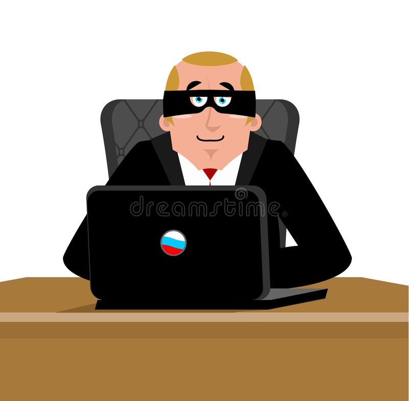 Russischer Hacker Computerdieb von Russland Mann in der Maske und im Schoss stock abbildung