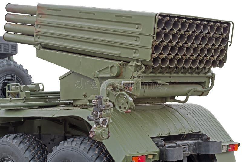 Russischer mehrfacher Raketenwerfer brachte am sowjetischen Militär-truc an stockfotos