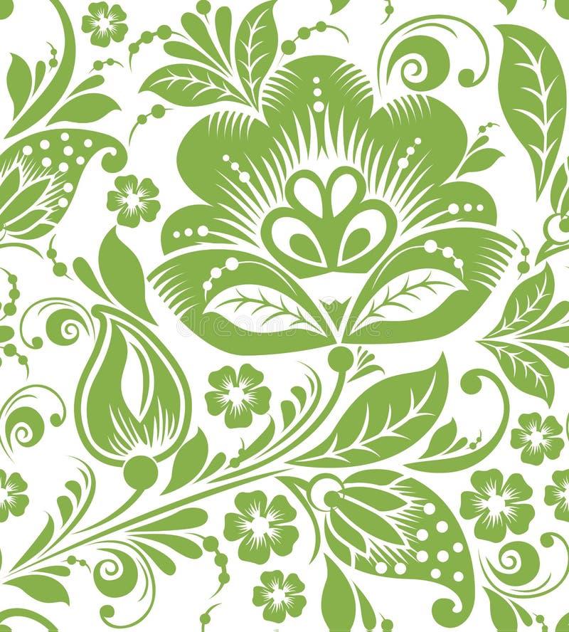 Russischer nahtloser Musterhintergrund des Grüns vektor abbildung