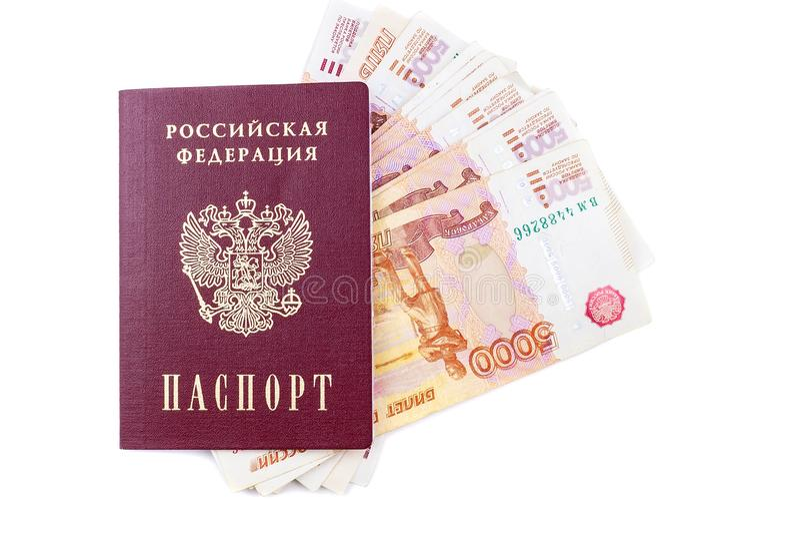 Russischer Pass und Rubel Banknoten lizenzfreies stockbild