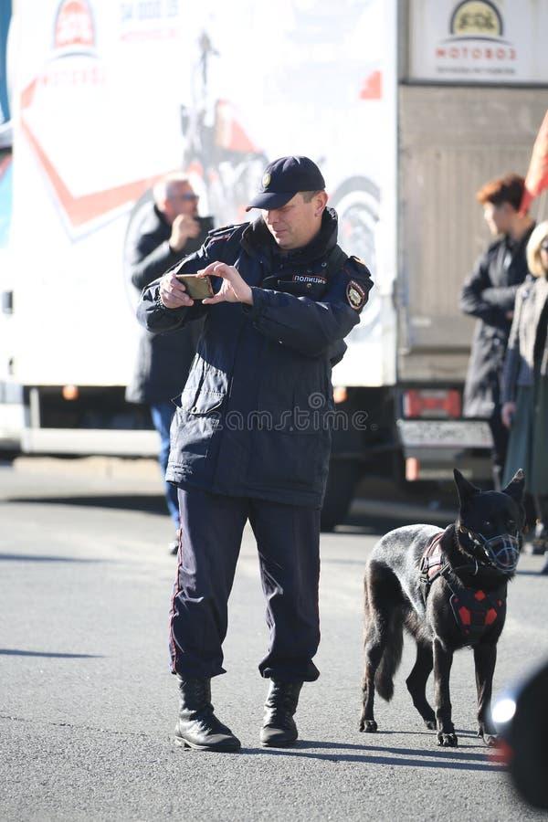 Russischer Polizeihundeführer und verwirrter Service-Hund in einer Mündung stockfotos