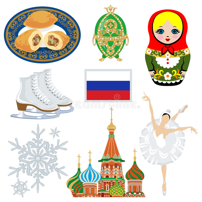 Russischer Symbolsatz lizenzfreie abbildung
