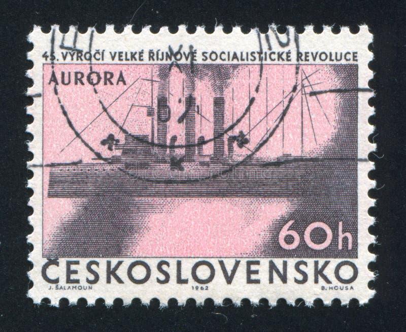 Russisches historisches Kriegsschiff stockfotos