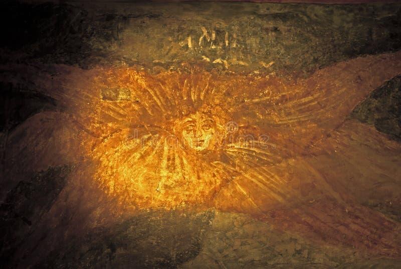Russisches Ikonen-Wandbild-ikonographische Szene Jahrhundert des Orthodoxie-Kirchen-Freskos XVI stockbilder