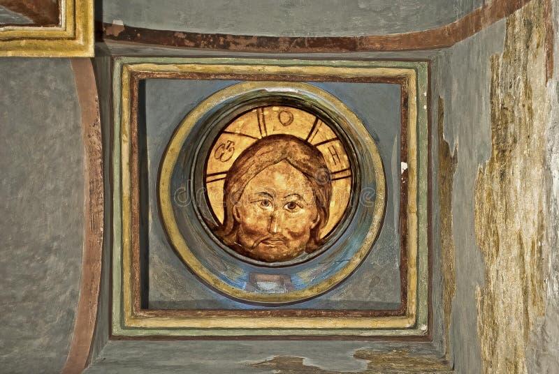 Russisches Ikonen-Wandbild-ikonographische Szene Jahrhundert des Orthodoxie-Kirchen-Freskos XVI lizenzfreie stockbilder
