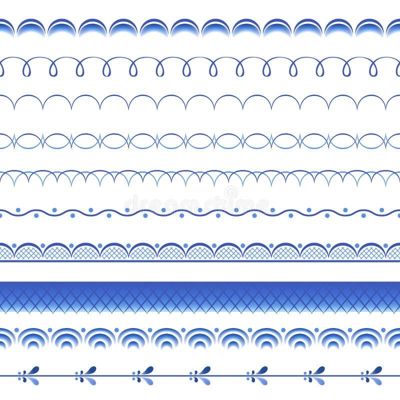 Russisches mit Blumenporzellan der blauen Blumen schön vektor abbildung